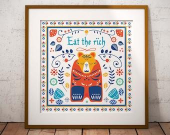 Eat the Rich // Scandinavian Folk Art // Art Print // Wall Art // Scandi Design // Poster // Punk Poster