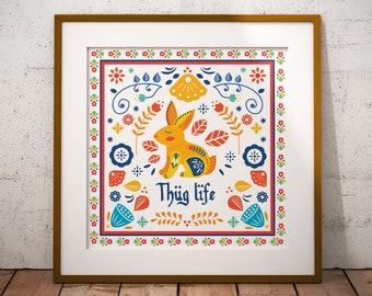 Thug Life // Scandinavian Folk Art // Art Print // Wall Art // Scandi Design // Poster // Punk Poster