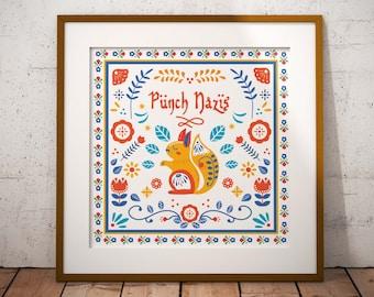 Punch Nazis // Scandinavian Folk Art // Art Print // Wall Art // Scandi Design // Poster // Punk Poster