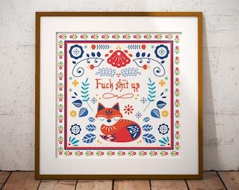 F**k Sh*t Up // Scandinavian Folk Art // Art Print // Wall Art // Scandi Design // Poster // Punk Poster