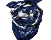 1PC Carriage Horse Square Silk Satin Small Scarf Lightweight Wrap Shawl Mouth Cover 27.5 quot x27.5 quot