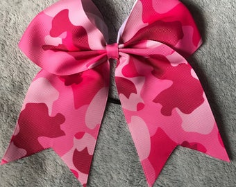 Pink Camouflage Cheer Hair Bow