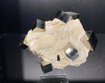 286 gram 7 natural Cubic iron pyrites on matrix from Spain | ironing pyrite | cubic pyrite | pyrite spain | fools gold | cube mineral