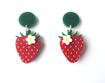Strawberry earrings with white inked flowers - laser cut  acrylic earrings
