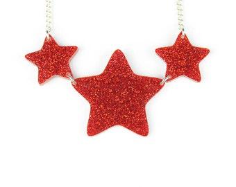 Red Glitter Dazzle Star Necklace - red glitter necklace -star necklace - laser cut acrylic - gifts for her