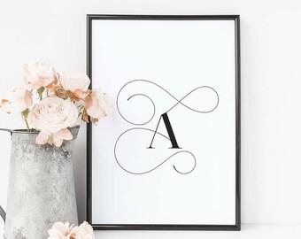 "Letter A - minimalistic Scandinavian printable poster-printable wall art qoutes - A4 / A3 / 8""x10"" / 11""x14"" / 16""x20"" / 50x70cm"
