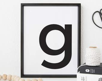 "G letter poster - minimalistic Scandinavian printable poster qoutes - A4 / A3 / 8""x10"" / 11""x14"" / 16""x20"" / 50x70cm"