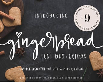 Gingerbread Font  Duo + 9 Premade Logos  and doodles / Calligraphy Font / Modern Calligraphy / Digital Font / Wedding Font / Invitation Font