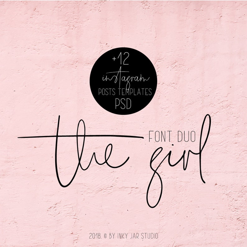 The Girl Font Duo + 12 PSD Instagram Post templates / Modern Calligraphy /  Digital Font / Wedding Font / Instagram / Quote font / Branding