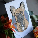 5x7 Custom Pet Portrait PaperArt - circle with border, mounted / gift ideas pet memorial art handmade dog art
