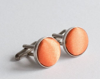 Fabric cufflinks / orange cufflinks / round cufflinks / metal and fabric cufflinks