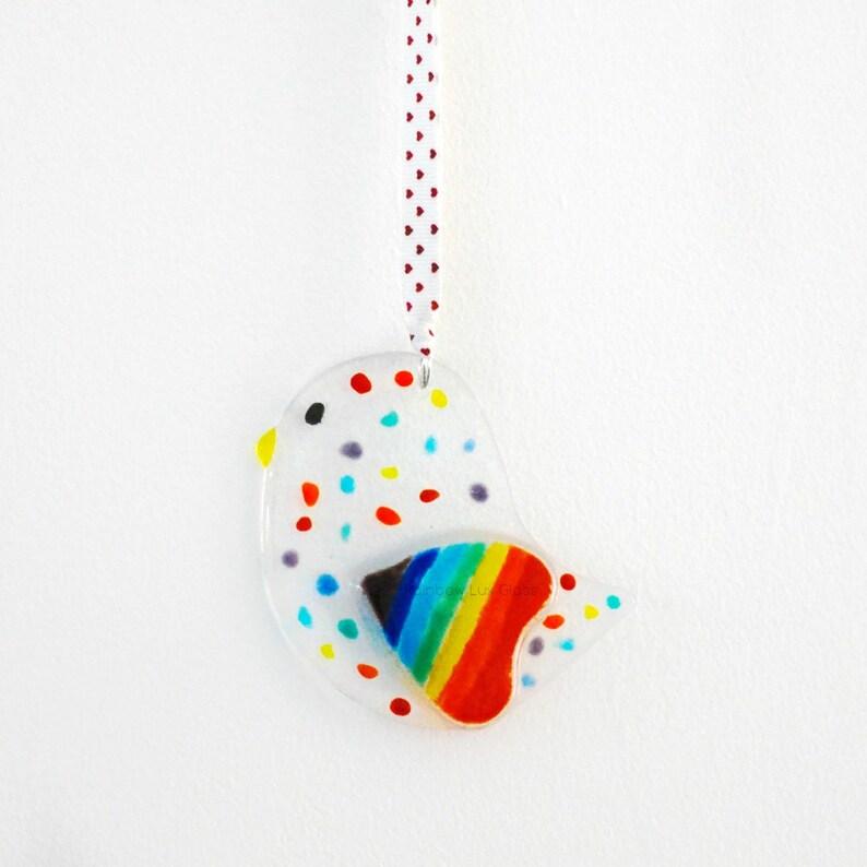 Rainbow Bird Suncatcher with Rainbow Heart \u2013 Dotty Spotty Hanging Version