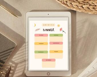 weekly meal planner | grocery list | instant download | planner insert | pdf file |