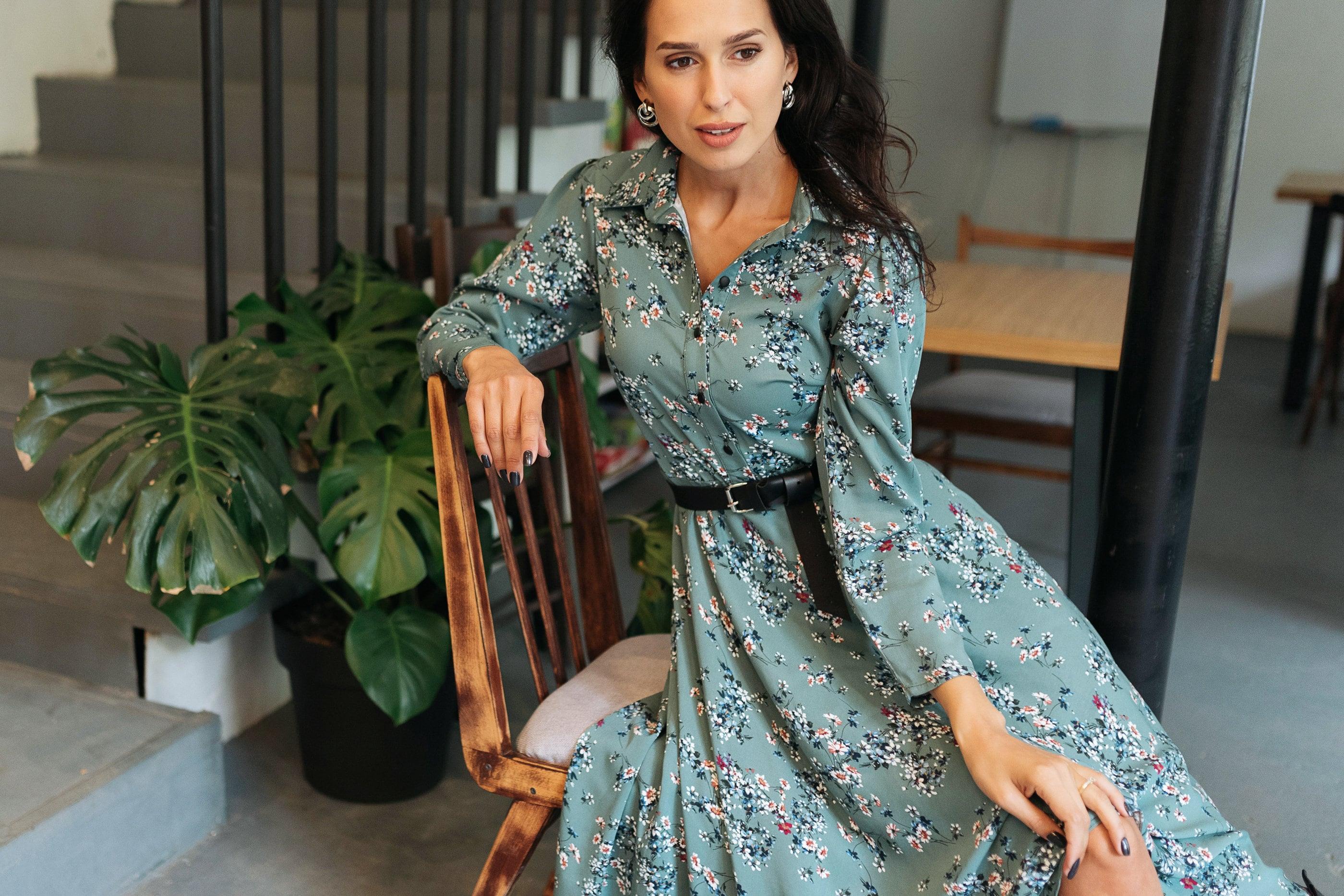 türkis langarm midi shirtwaist kleid in floralen druck | etsy