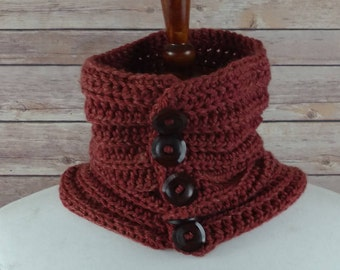 Fine Ribbed Neck Warmer Cowl in Scarlet Orange with 5 Wooden Buttons. For Men and Women. 100% Acrylic, Hypoallergenic.
