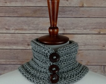 Small Fine Ribbed Neck Warmer Cowl in Grey with 3 Wooden Buttons. For Men and Women. 100% Acrylic, Hypoallergenic.
