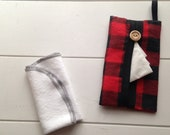 TISSUE CASES - lumberjack tissue case - lumberjack tissue cover - black red checkered tissue case - buffalo tissue case