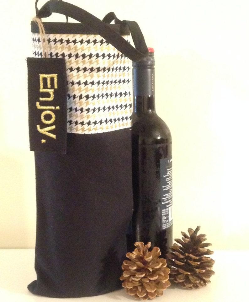 houndstooth pattern design  - WINE GIFT BAG wine bag wine gift bag