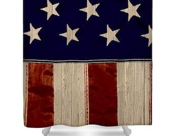 Rustic American Shower CurtainAged Flag Bath CurtainsRed White Blue Bathroom DecorShower AccessoriesHomeShower Curtain