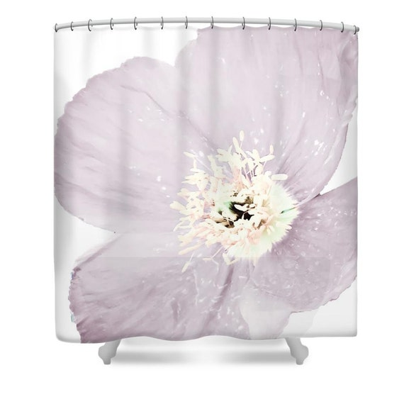 Pink Poppy Shower CurtainWhitePinkLight PurpleFloral