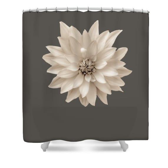 einzigartige dahlia duschvorhang sepia grau bad vorhang etsy. Black Bedroom Furniture Sets. Home Design Ideas