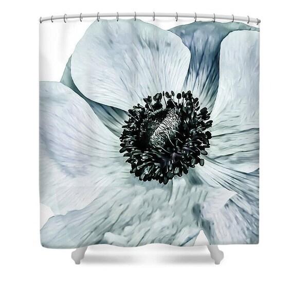 blaue blume duschvorhang einzigartige designer badezimmer etsy. Black Bedroom Furniture Sets. Home Design Ideas