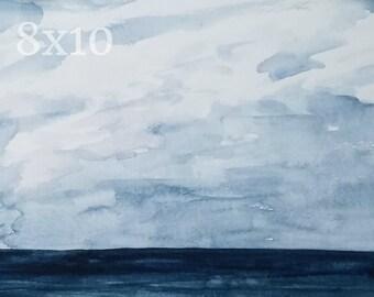 Ocean 8x10 Watercolor Print: Navy Blue Abstract Painting Water Sea Nature Wall Art Coastal New England Print Bathroom Home Decor