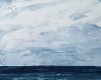 Ocean Watercolor Print, Sea Painting, Atlantic Ocean Art, Nautical Wall Art, Coastal Home Decor, Navy Blue Art, Beach Watercolor Artwork