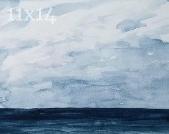 Blue Ocean 11x14 Painting: Watercolor Print Navy Abstract Water Sea Long Island Sound Wall Art Coastal New England Print Bathroom Home Decor