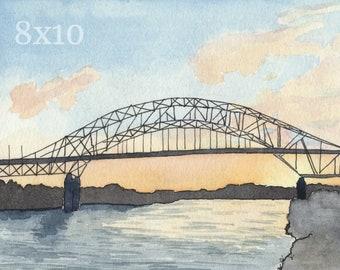Cape Cod Bridge 8x10 Watercolor Print: Sagamore Bridge Painting, Coastal Home Decor,  Massachusetts Wall Art, Cape Cod Canal, New England