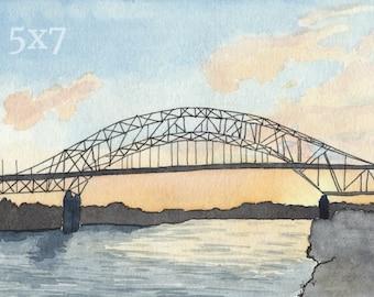 Sagamore Bridge Print (5x7), Cape Cod Watercolor, Beach Gift, Bridge Wall Art, Cape Cod Painting, Coastal Home Decor, Coastal New England