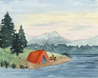 Camping Painting, Adventure Inspired, Camping Watercolors, Hiking Gift, Tent, Explore Outdoors, Square Paintings, Nature Artwork, Wanderlust