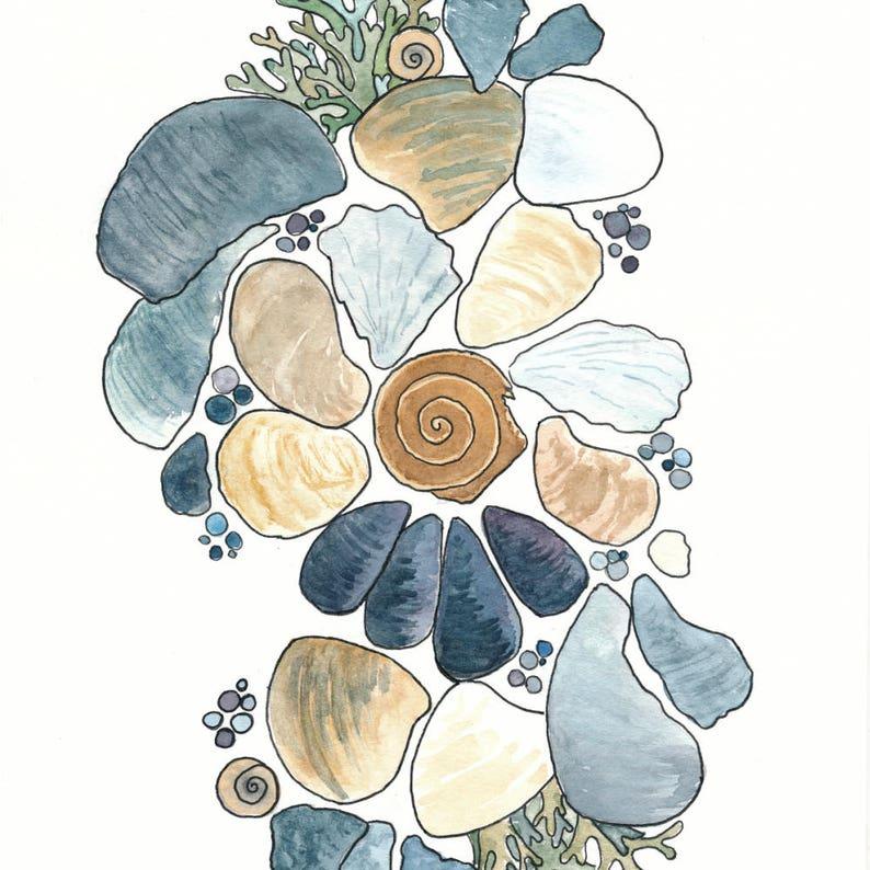 Watercolor Shell Art Print: Beach Inspired Painting Ocean image 0