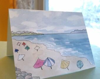 Beach Note Card, Beach Umbrellas, Cape Cod Greeting Card, Summer Notecard, Summery Card, Beach Thank You Card