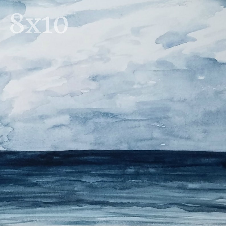 Ocean 8x10 Watercolor Print: Navy Blue Abstract Painting Water image 0