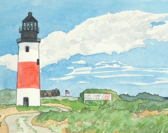 Nantucket Lighthouse Watercolor Print: Sankaty Light Painting, Cape Cod Gift, Coastal Home Decor, New England Themed Gift, Cottage Wall Art