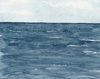 Seascape Watercolor Print, Ocean Painting, Blue Wall Art, Indigo Artwork, Atlantic Ocean, Nautical Home Decor, Coastal Farmhouse Decor