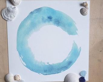 Watercolor Print of Aqua Circle, Blue Painting, Enso Circle, Yoga Teacher Gift, Zen Wall Art, Minimalist Home, Wave Circle, Coastal Decor