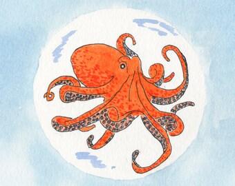 Octopus Watercolor Print, Octopus Art, Ocean Painting, Kids Room Wall Art, Beach Decor, Bathroom Art, Nautical Home Decor, Underwater Art