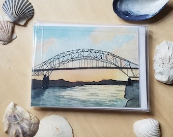 Cape Cod Card Set: Beach Watercolor Notecard, Massachusetts Gift, Ocean Art Stationery, Shell Illustrations, Plover Painting, Blank Greeting