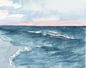 Seascape Watercolor Print, Ocean Inspired Art, Coastal Home Decor, Beach Art Print, Nautical Decor, Nature Inspired Wall Art, Vertical Print