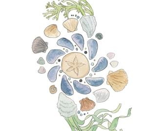 Shell watercolor art, beach inspired painting, seaweed art, beach cottage style, ocean home decor, Cape Cod souvenir, ocean bathroom