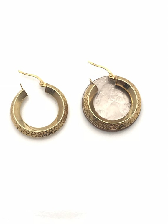 Gold Hoop Earrings, Diamond Cut Geometric Earring… - image 6