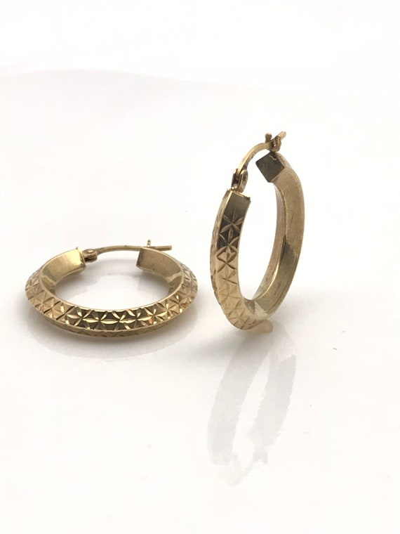 Gold Hoop Earrings, Diamond Cut Geometric Earring… - image 2