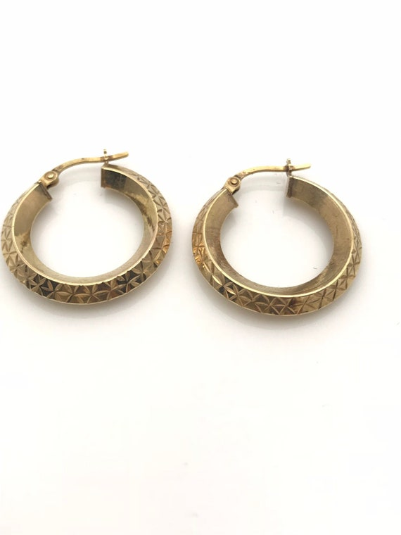 Gold Hoop Earrings, Diamond Cut Geometric Earring… - image 10