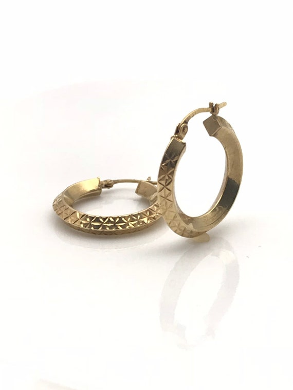 Gold Hoop Earrings, Diamond Cut Geometric Earring… - image 8