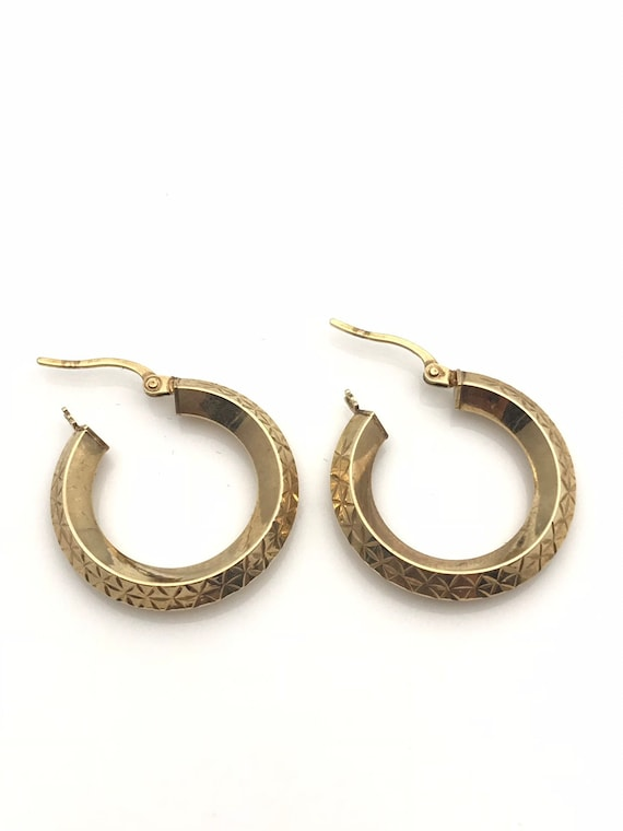 Gold Hoop Earrings, Diamond Cut Geometric Earring… - image 4