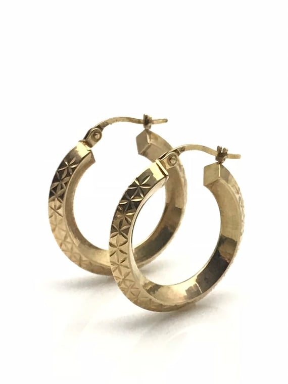 Gold Hoop Earrings, Diamond Cut Geometric Earring… - image 1