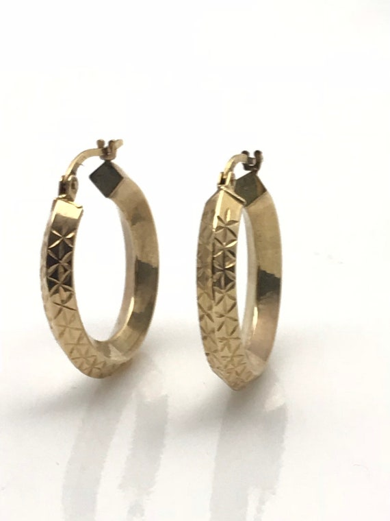 Gold Hoop Earrings, Diamond Cut Geometric Earring… - image 9