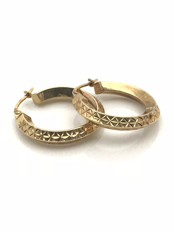 Gold Hoop Earrings, Diamond Cut Geometric Earring… - image 3